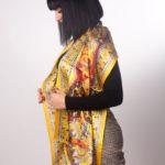 Κίτρινο μεταξωτό γυναίκειο χειροποίητο μαντίλι 170Χ47