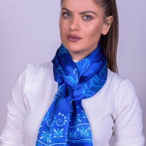 Γαλάζιο μεταξωτό γυναικείο χειροποίητο μαντίλι 170 Χ 47 εκ.