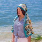 Γαλάζιο μεταξωτό γυναικείο χειροποίητο μαντίλι 170 Χ 33 εκ.