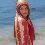 Κόκκινο μεταξωτό γυναικείο χειροποίητο μαντίλι 170 Χ 33 εκ.