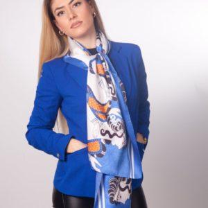 Μπλε μεταξωτό γυναικείο χειροποίητο μαντίλι 170 Χ 47 εκ.