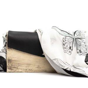 Χειροποίητη ξύλινη τσάντα Black Batterfly - R&M