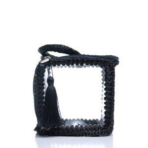 Πλεκτή χειροποίητη τσάντα τετράγωνη διαφανές με φερμουάρ και κρόσσια