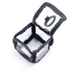 Πλεκτή χειροποίητη τσάντα τετράγωνη μικρή διαφανές με φερμουάρ