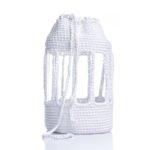 Πλεκτή χειροποίητη τσάντα λευκή με πλεκτό λουρί και διαφάνεια