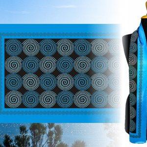 Mεταξωτό μπλε χειροποίητο μαντίλι 170εκ. Χ 47εκ.